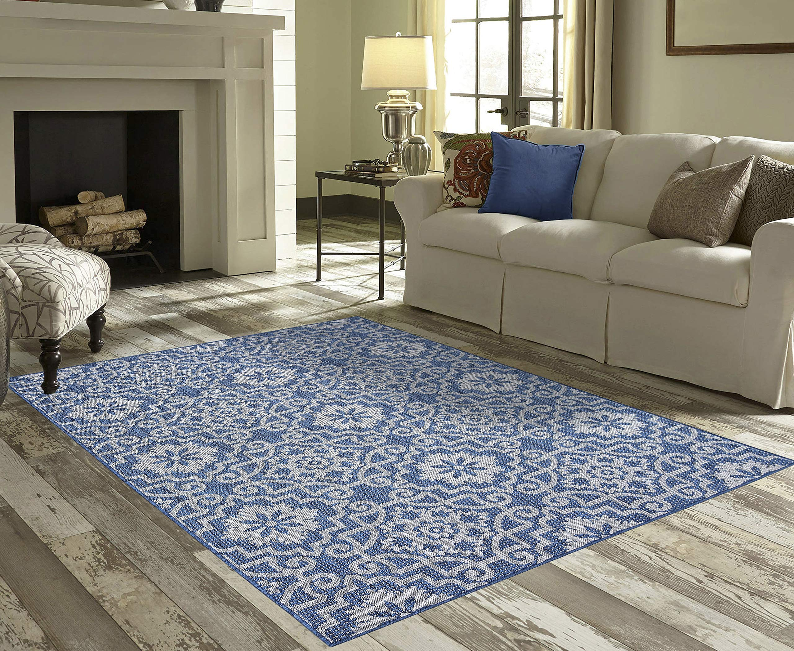 Priyate Florida Collection All Weather Indoor/Outdoor Moro Tile Rug for Living Room, Bedroom, and Dining Room (7'10'' x 10', Blue)