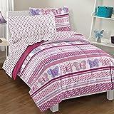 Dream Factory Butterfly Dots Ultra Soft Microfiber Girls Comforter Set, Pink, Twin