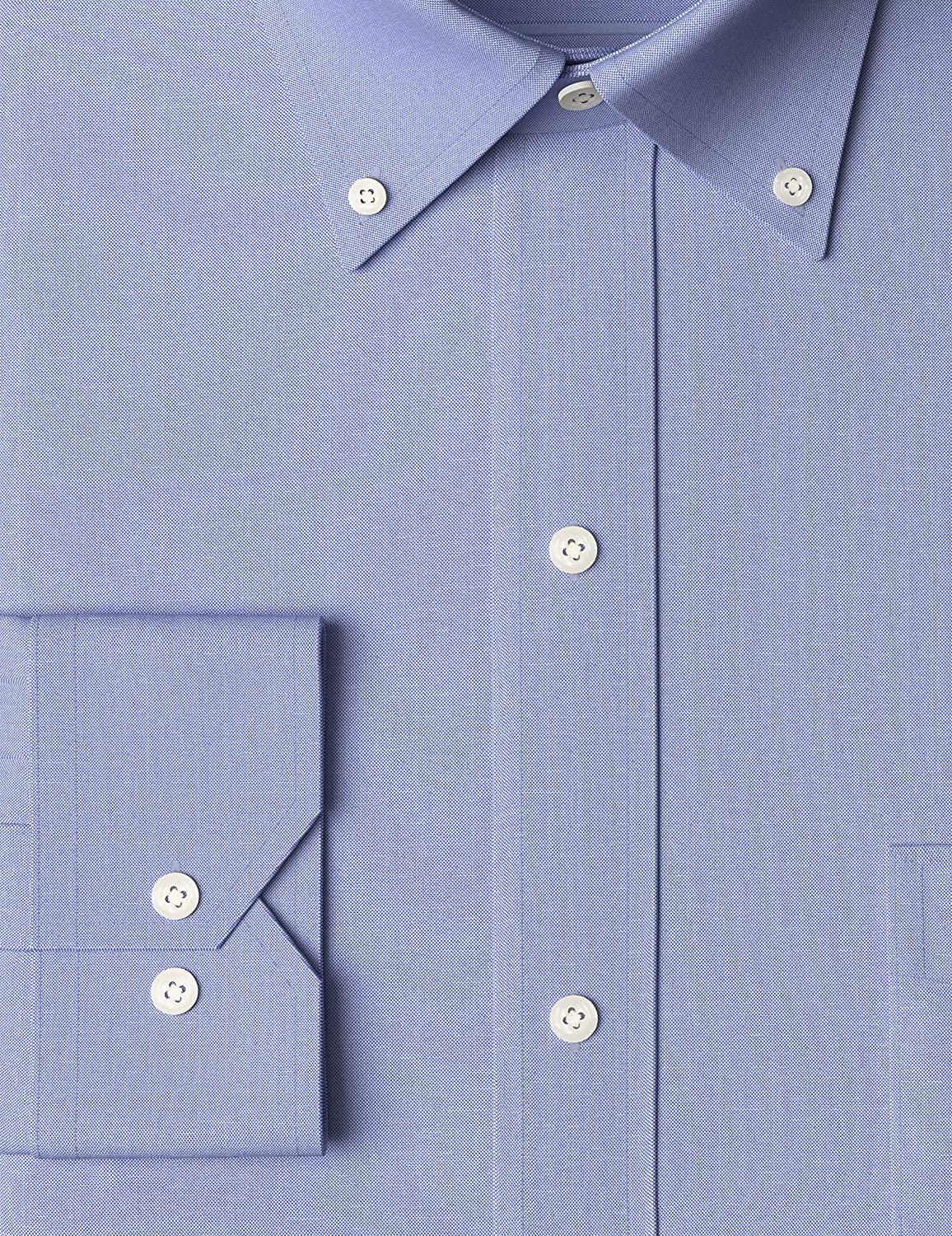 """Amazon Brand - Buttoned Down Men\'s Tailored Fit Button-Collar Pinpoint Non-Iron Dress Shirt, Blue, 17\"""" Neck 32\"""" Sleeve A1YJOFg39zL"""