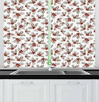 christmas kitchen curtains by ambesonne winter season harvest holly berries vintage floral composition ornate leaves - Christmas Kitchen Curtains