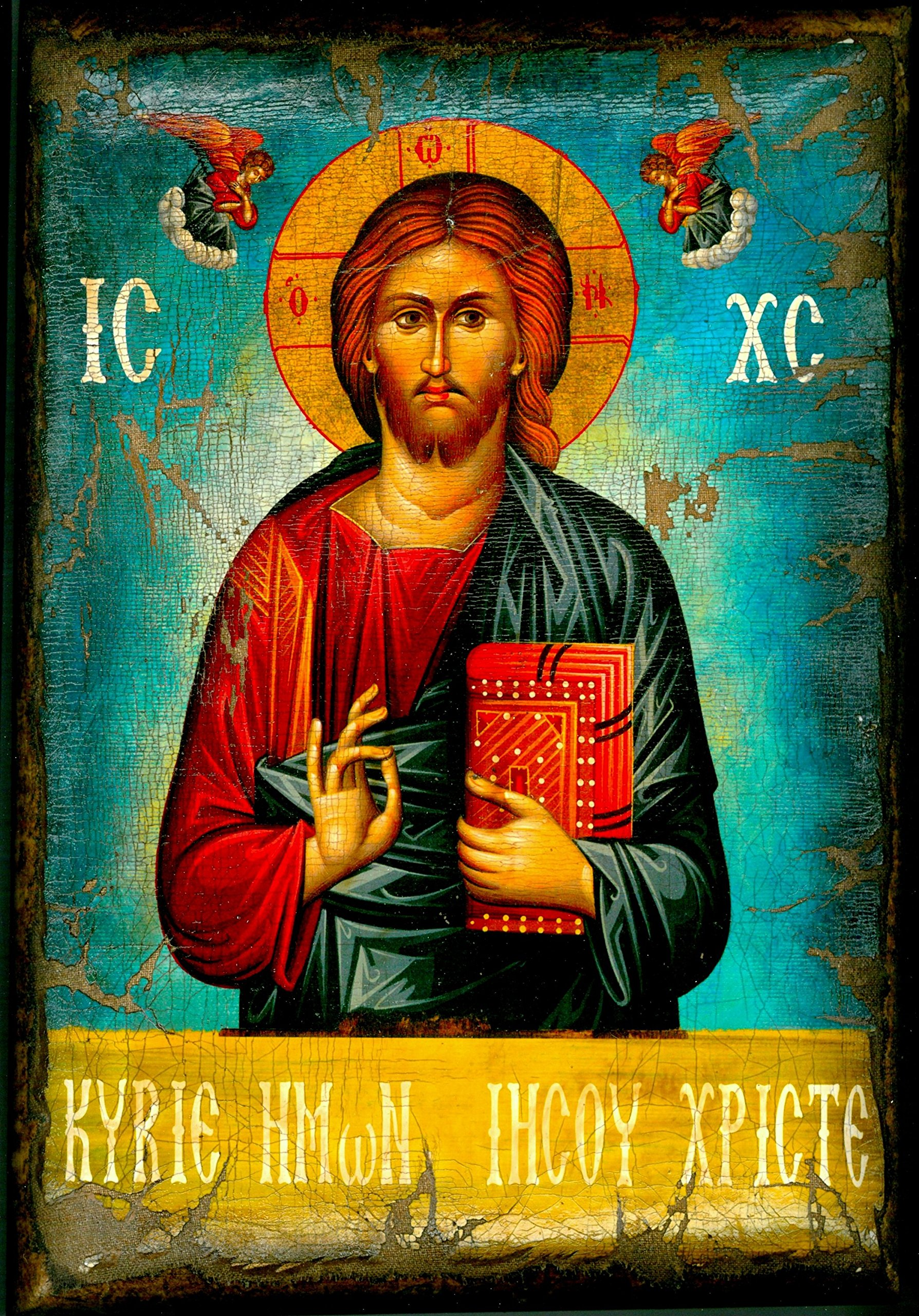 Handmade Greek Christian Orthodox Wood Icon of Jesus Christ On Canvas / M3 by Iconsgr