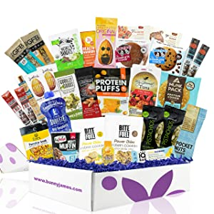 High Protein Healthy Snacks Fitness Box: Mix Of Natural Organic Non-GMO Protein Bars Cookies Granola Mix Jerky Nuts Premium Care Package
