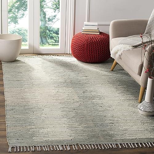 Safavieh Montauk Collection MTK718A Handmade Flatweave Grey Cotton Area Rug 6 x 9