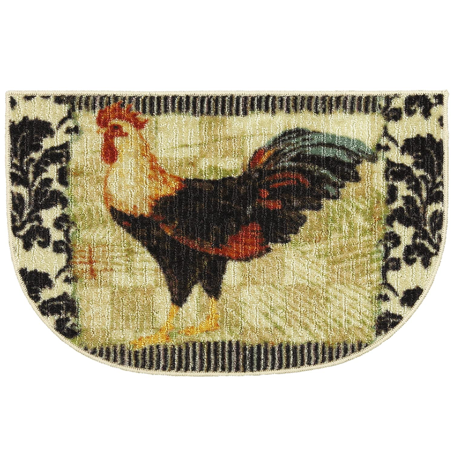 Bergerac Rooster Neutral 18-Inch by 30-Inch Slice Accent Rug