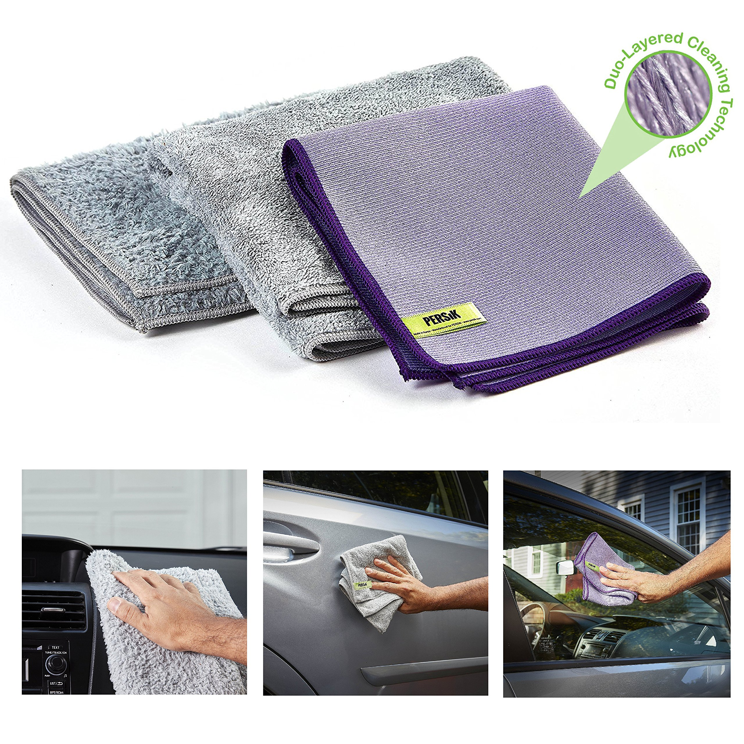 Pure-Sky Microfiber Towels for Cars - 4-Piece Car Cleaning Kit - JUST ADD Water No Detergents Needed - Includes, Interior Microfiber Cleaning Cloth, Body Non-Scratch Towel, Windows Streak Free Towel