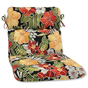 Pillow Perfect Outdoor Clemens Rounded Corners Chair Cushion, Noir