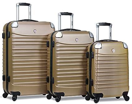Amazon.com | Dejuno Impact Hardside 3-Piece Spinner Luggage Set-Champagne | Luggage Sets