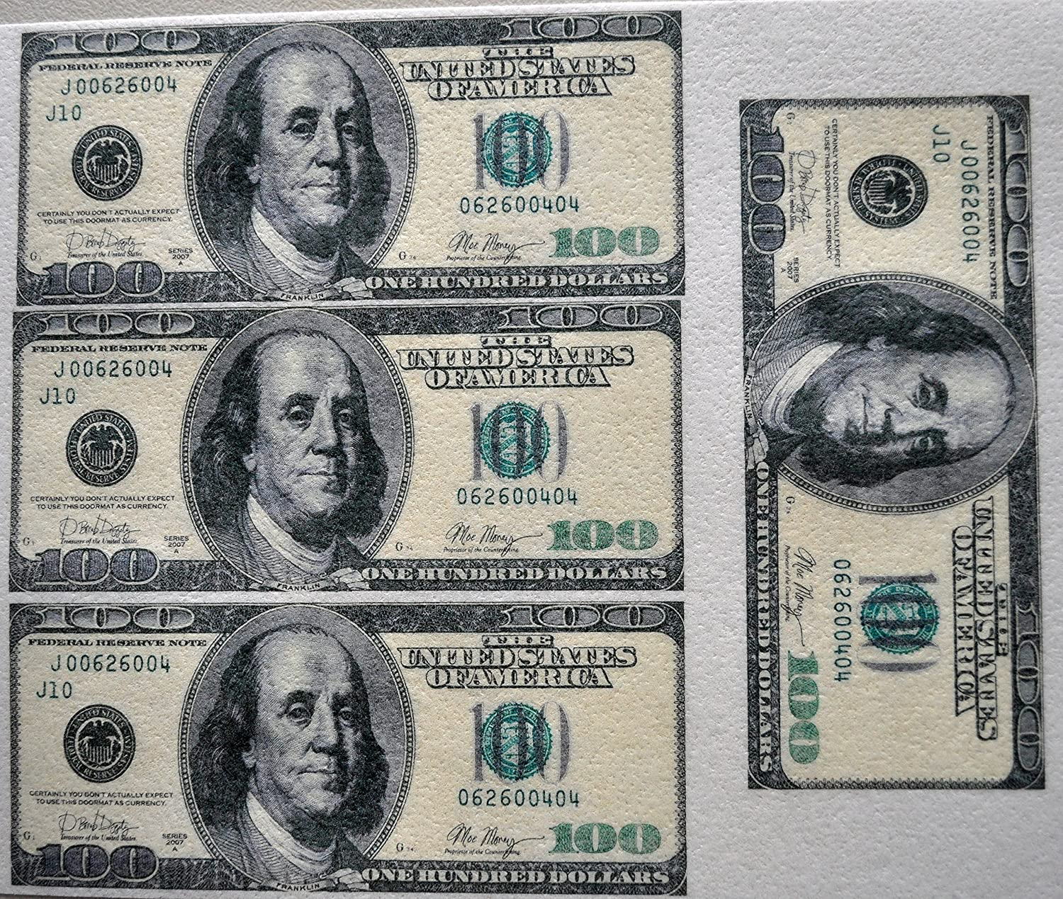 Edible Wafer $100 One Hundred Dollar Bills Real Size ~ BUY TWO GET THIRD  FREE!