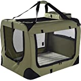MOOL Lightweight Fabric Pet Carrier Crate with Fleece Mat and Food Bag, X-Large, 81 x 58 x 56 cm, Green