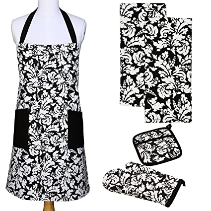 Yourtablecloth Kitchen Gift Set 1 Kitchen Apron An Oven Mitt A Pot Holder 2 Kitchen Dish Towels Or Tea Towels Ideal Cooking Gifts Or Gift Ideas For