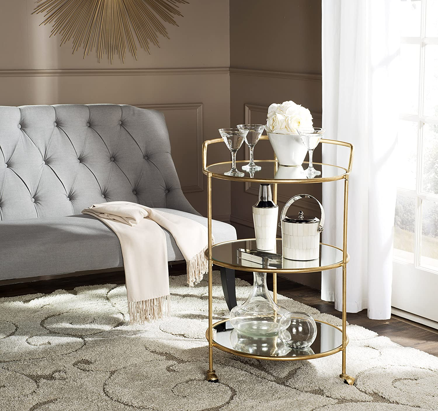 Safavieh Home Collection Dulcinea Gold Bar Cart, Steel