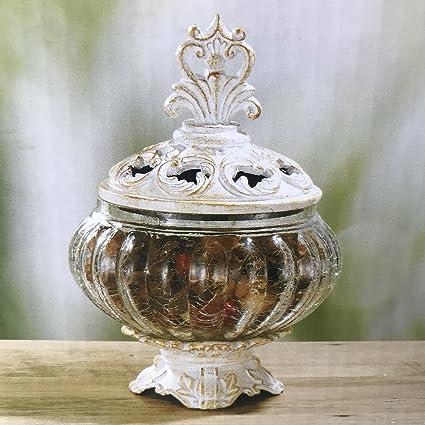 Amazon Kirklands Ivory Distressed Potpourri Crackle Glass Vase