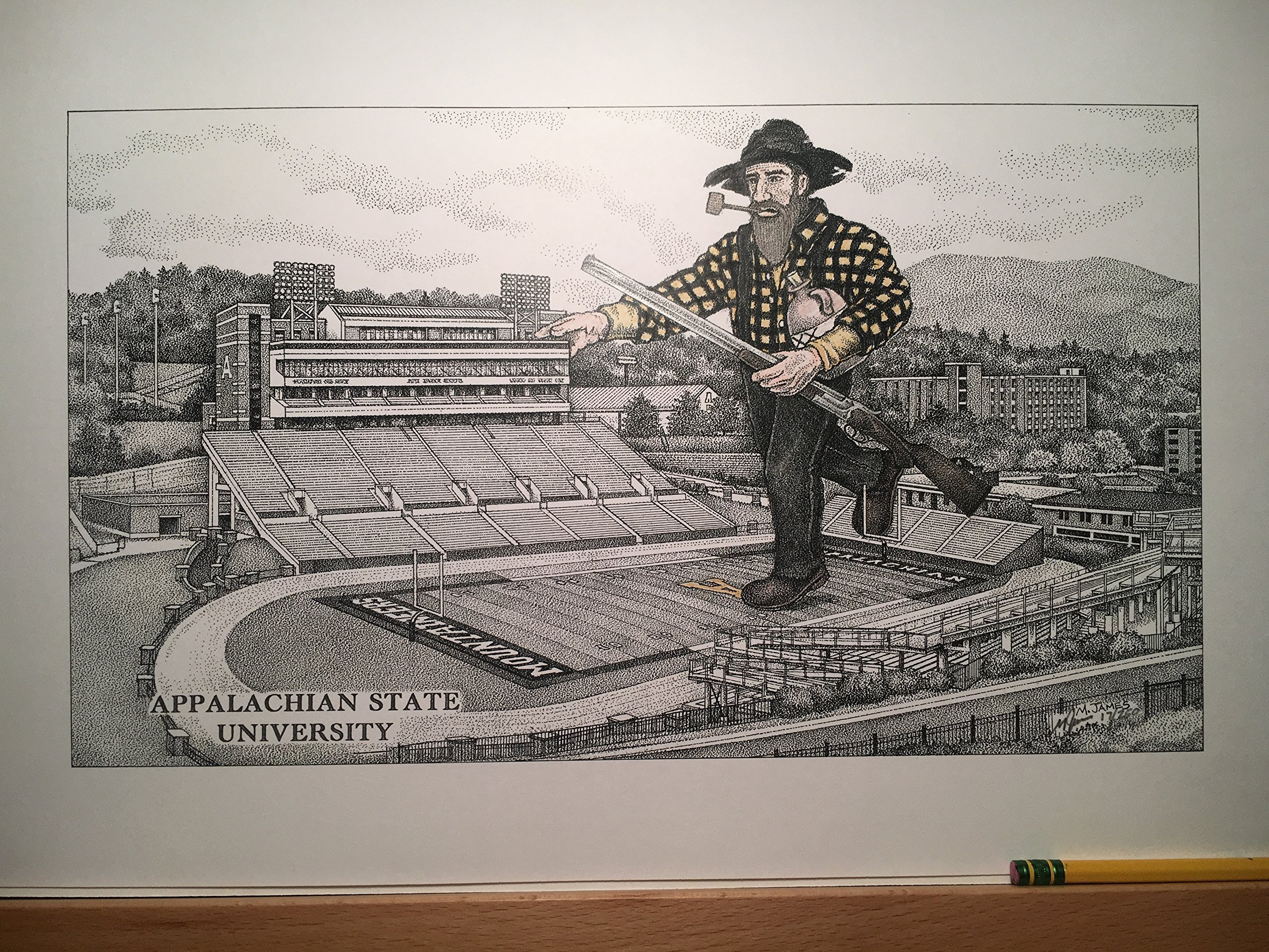 Appalachian State football stadium with mountaineer; pen and ink print from hand-drawn original