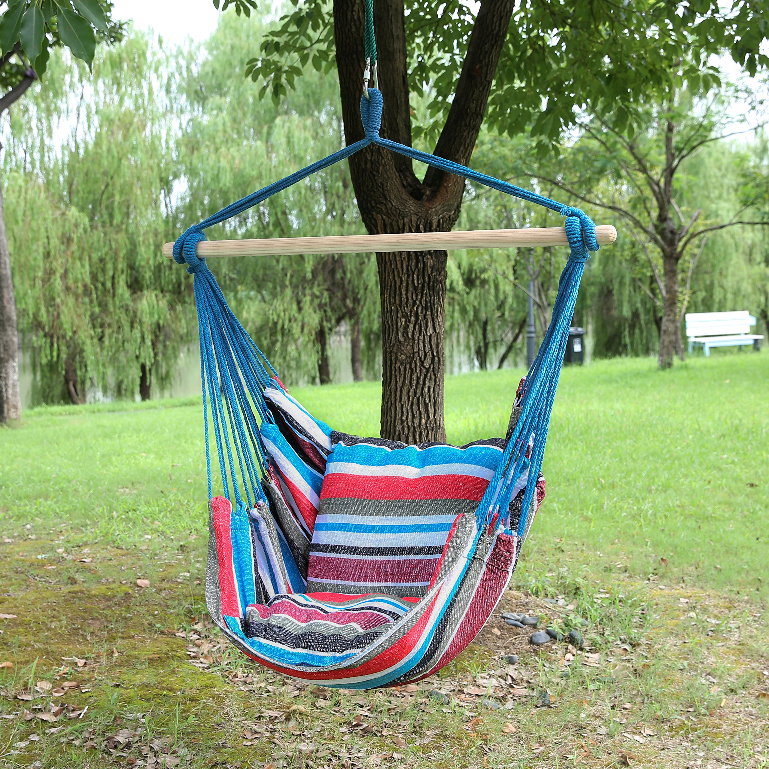 Blissun Hanging Hammock Chair, Hanging Swing Chair with Two Cushions, 34 Inch Wide Seat (Cool Breeze) by Blissun (Image #7)