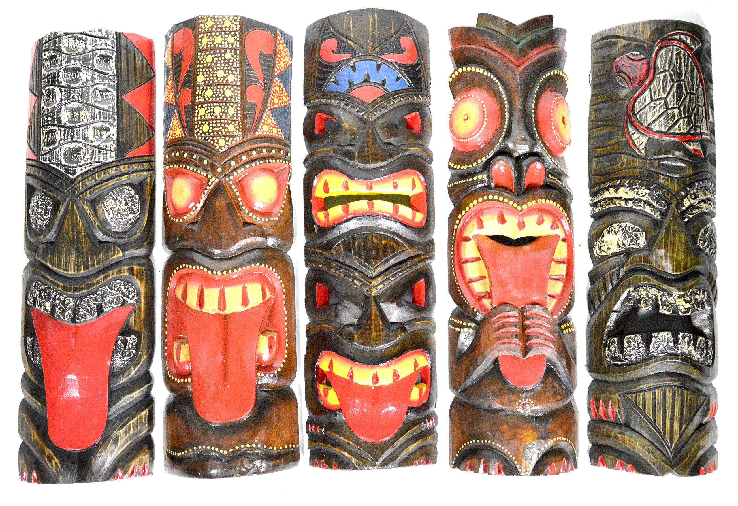 New 20'' Large Set of 5 Polynesian Hawaiian Tiki Style Wall Masks