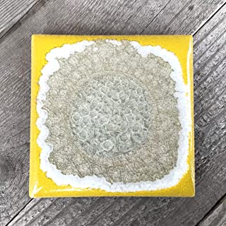 product image for Geode Crackle Coaster in Canary, Individual Coaster, Geode Coaster, Agate Coaster, Fused Glass Coaster, Crackle Glass Coaster, Dock 6 Pottery Coaster, Dock 6 Pottery, Kerry Brooks Pottery