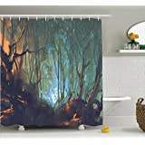 Mystic House Decor Shower Curtain Set By Ambesonne, Whimsical Forest  Reflection In Lake Deep Dark