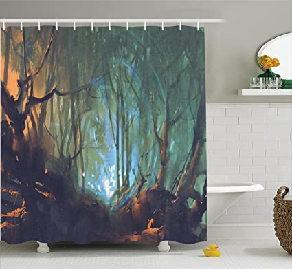 Ambesonne Mystic House Decor Shower Curtain Set, Whimsical Forest  Reflection In Lake Deep Dark Mystical