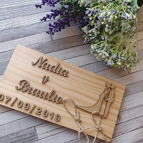 Porta alianzas porta anillos de boda en madera natural ...