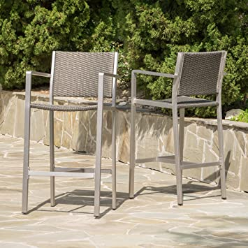 capral outdoor grey wicker barstools set of 2