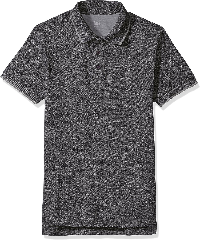 LEE Mens Polo Shirt Short Sleeve Big Tall Regular, Black, Medium ...
