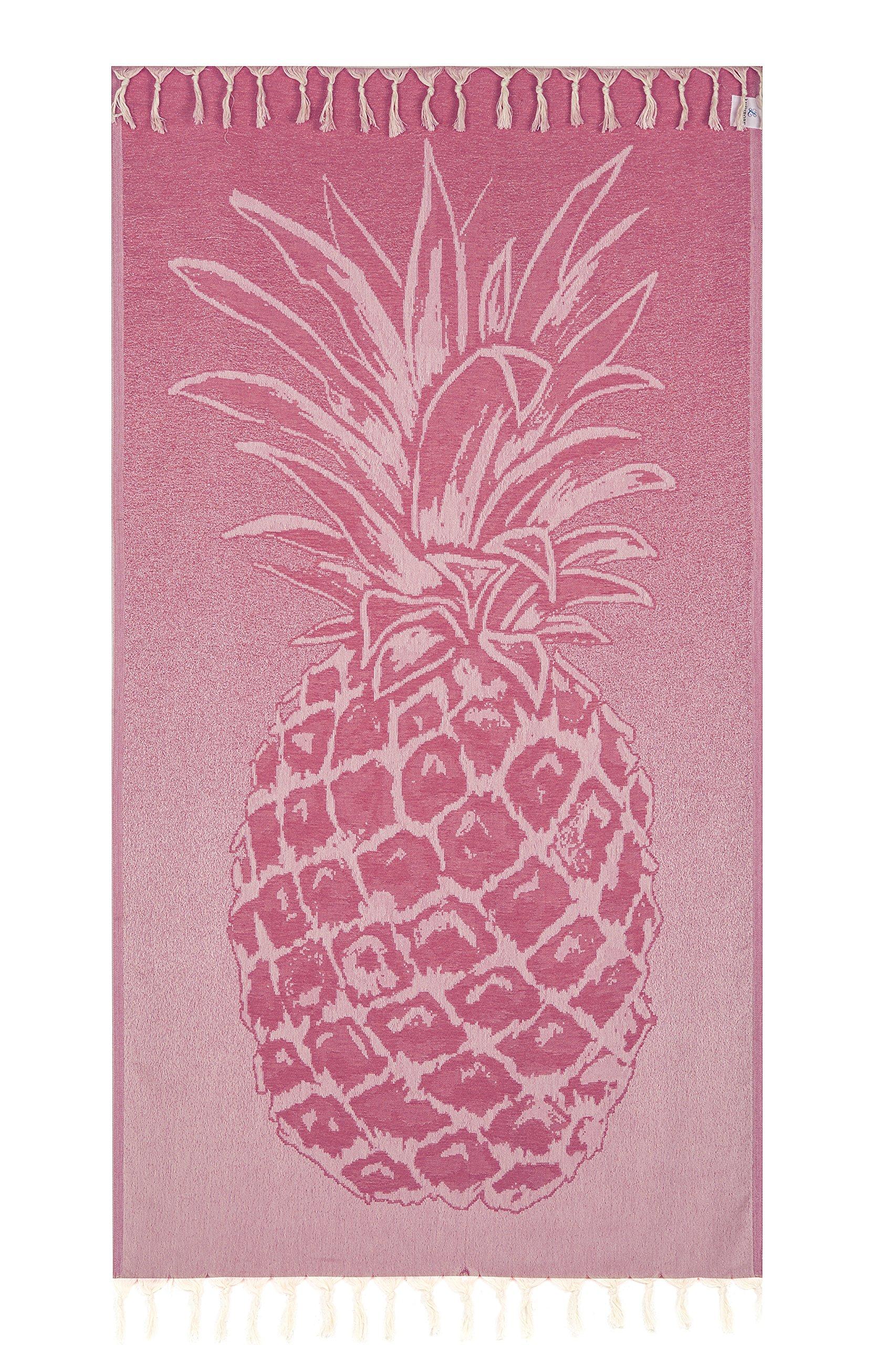 Lushrobe Peshtemal Beach Towel Lightweight 100% Cotton Fouta Pool Bath Gym Blanket - 72'' L x 40'' W - Pineapple (Fuchsia)