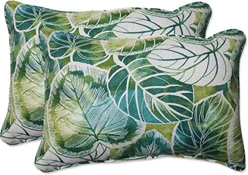 Pillow Perfect Outdoor/Indoor Key Cove Lagoon Over-Sized Rectangular Throw Pillow Set of 2 ,Green