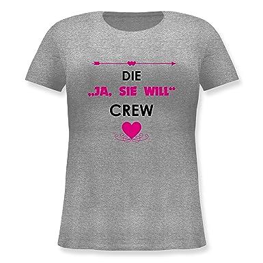 ICH WILL /& SIE WILL Jungesellinnenabschied JGA Feiern Damen Rundhals T-Shirt JA