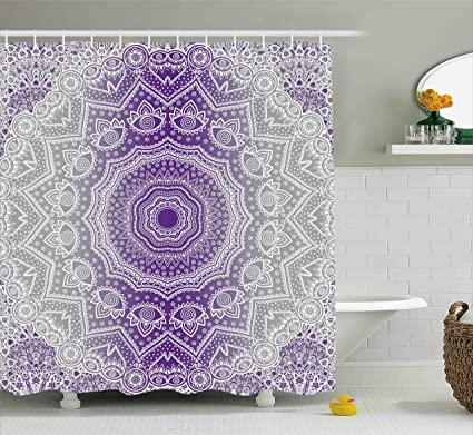 Ambesonne Grey And Purple Shower Curtain Ombre Mandala Abstract Eastern Religious Art With Holy