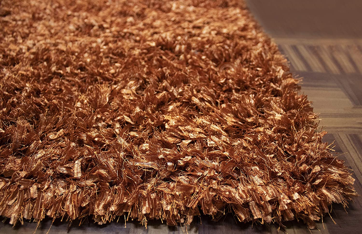 8'x10' Feet Orange Rust Two Tone Color Solid Plush Pile Shag Shaggy Fuzzy Furry Area Rug Carpet Rug Modern Contemporary Decorative Designer Bedroom Living Room Office Space Dorm Room