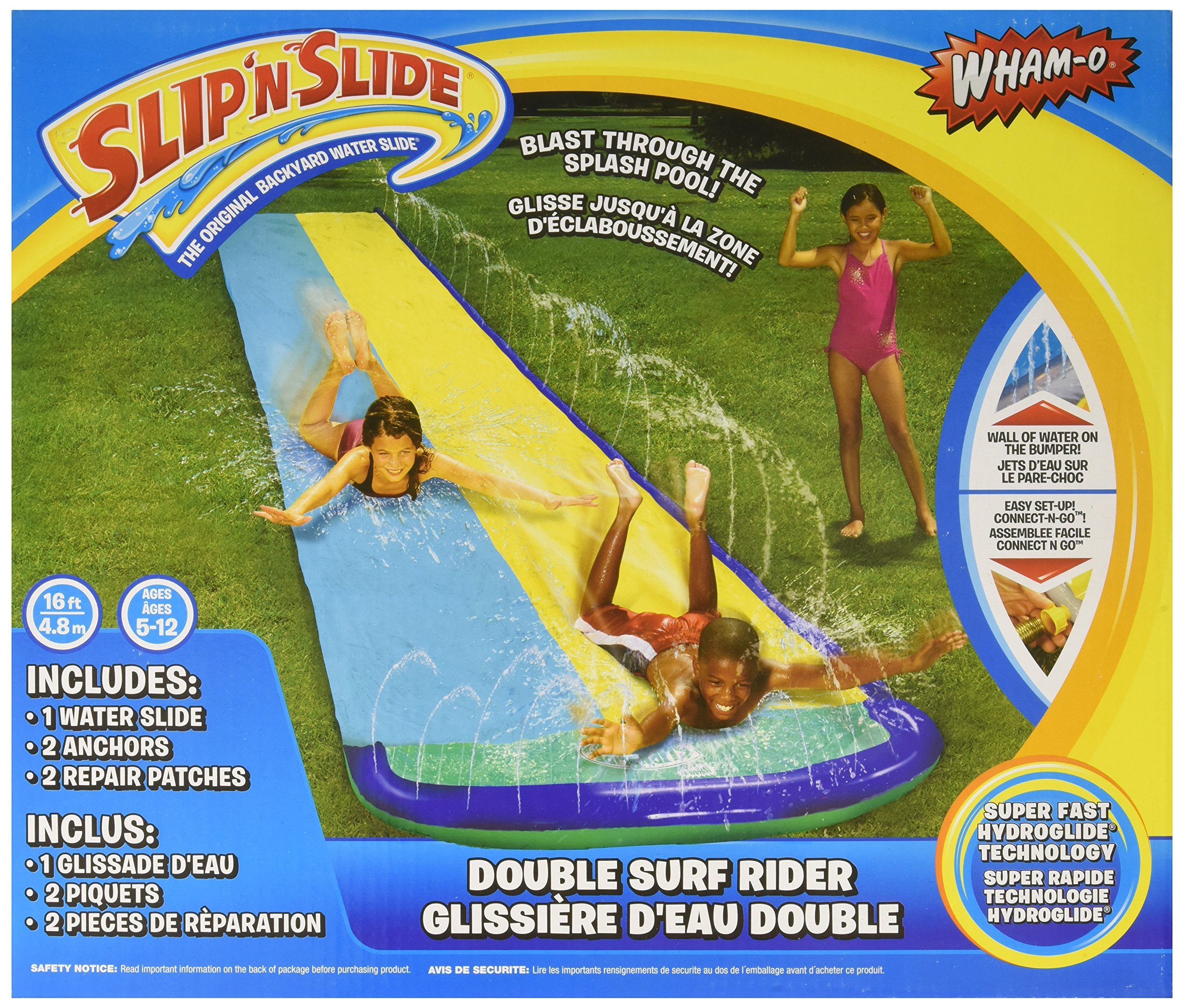 Wham-O Slip 'N Slide Surf Rider Double Sliding Lanes 16ft , color may vary by Wham-O