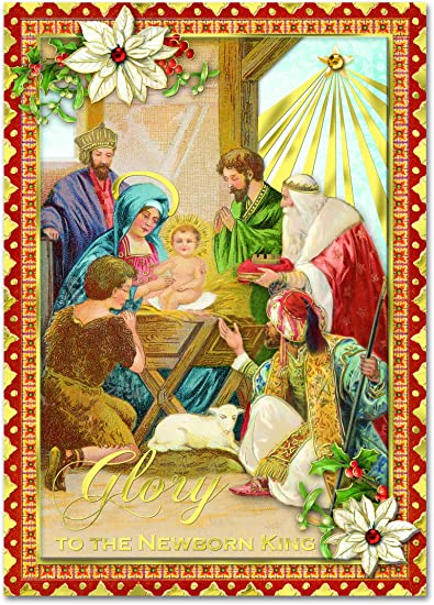 Amazon punch studio christmas dimensional greeting cards punch studio christmas dimensional greeting cards nativity scene quotglory to the newborn kingquot m4hsunfo