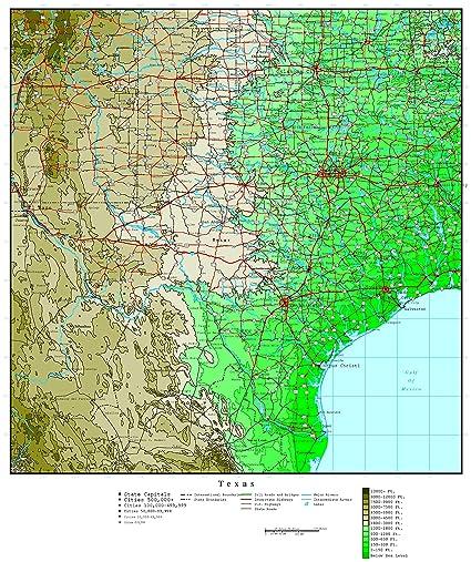 Amazoncom Home Comforts Laminated Map 26 Luxury Topographic Map - Us-karst-map