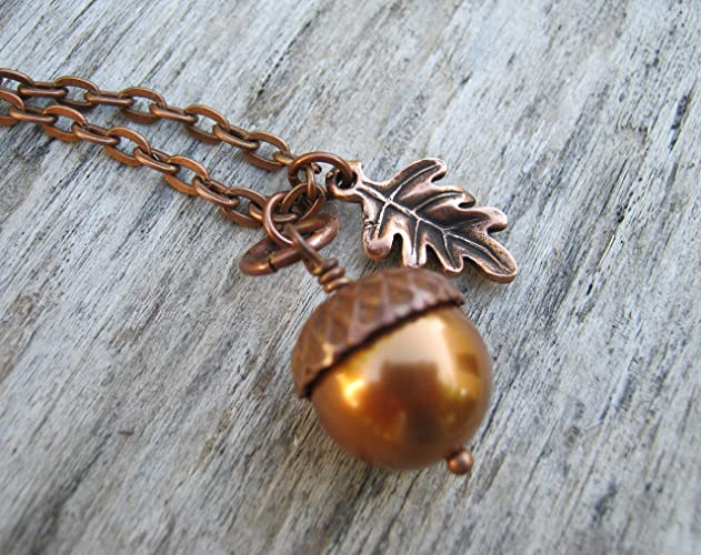 "Bohemian autumn home decor, jewelry and accessories from Amazon. Autumn wishlist. Amazon handmade store. 20"" Copper Acorn Necklace, Copper Swarovski Pearl Necklace, Antiqued COPPER Jewelry, Autumn Nature"