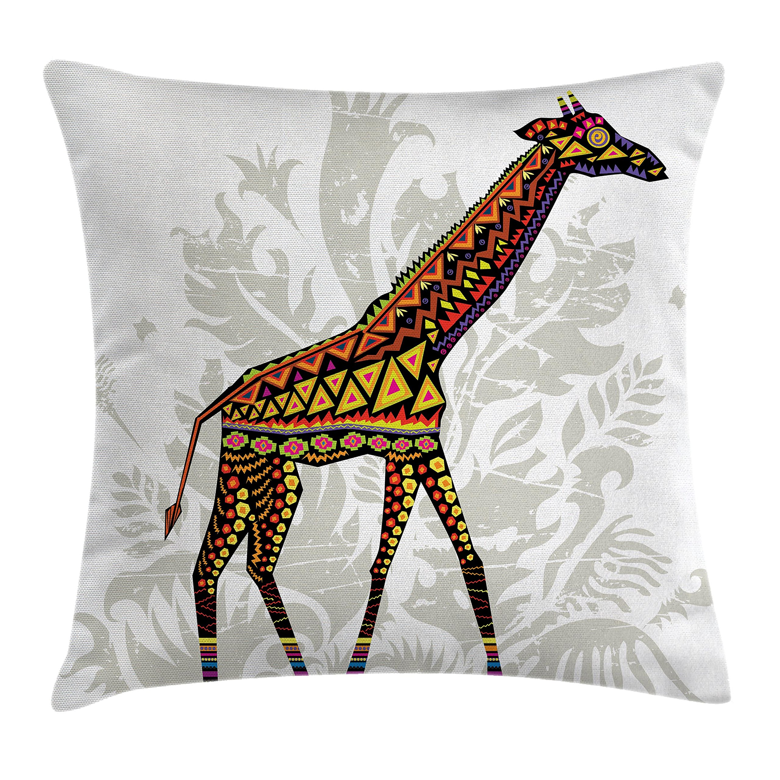 Ambesonne Batik Decor Throw Pillow Cushion Cover, African Savannah Animal Giraffe with Ethnic Ornament Patterns on Body Creature Print, Decorative Square Accent Pillow Case, 16 X 16 Inches, Multi