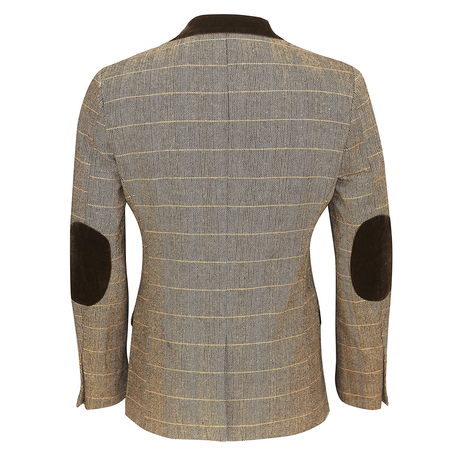 32d1d59687be Xposed Mens Vintage Tweed Herringbone Check Blazer In Oak Brown Grey With Velvet  Collar Elbow Patch: Amazon.co.uk: Clothing