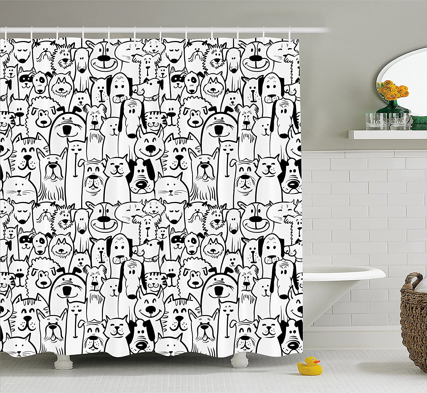 Ambesonne Doodle Shower Curtain, Collection of Dogs and Cats Cute Animals Fun Happy Beings Cartoon Inspired Design, Fabric Bathroom Decor Set with Hooks, 70 Inches, Black White