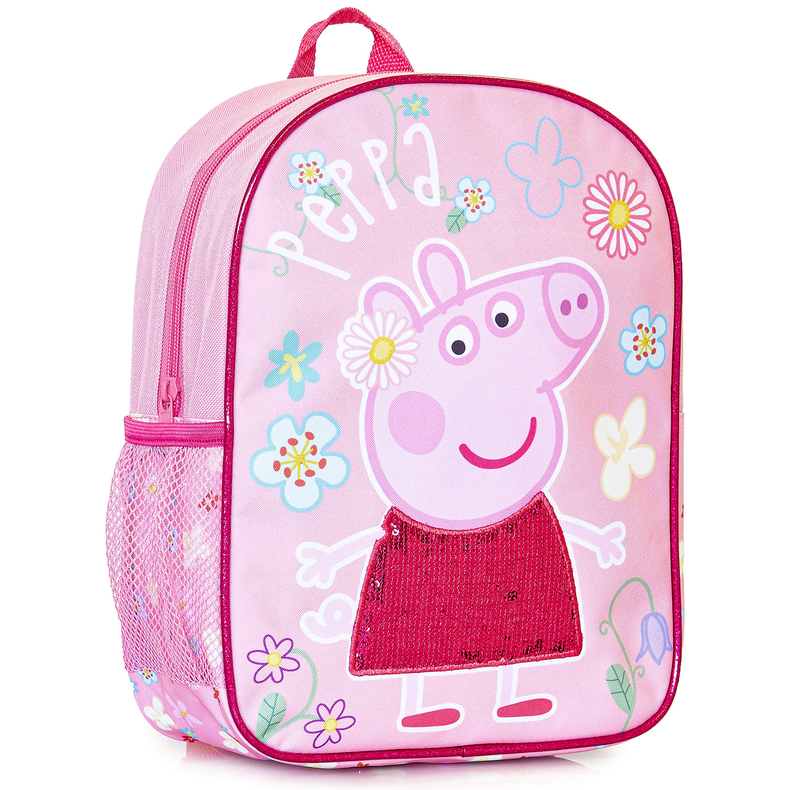 Sequin Kids Backpack | Girls Pink Canvas Rucksack with Pink Sequin Detail On The Dress, Perfect Children School Bag, Nursery Or Preschool Bag, Kids Toddlers Holiday Travel Bag