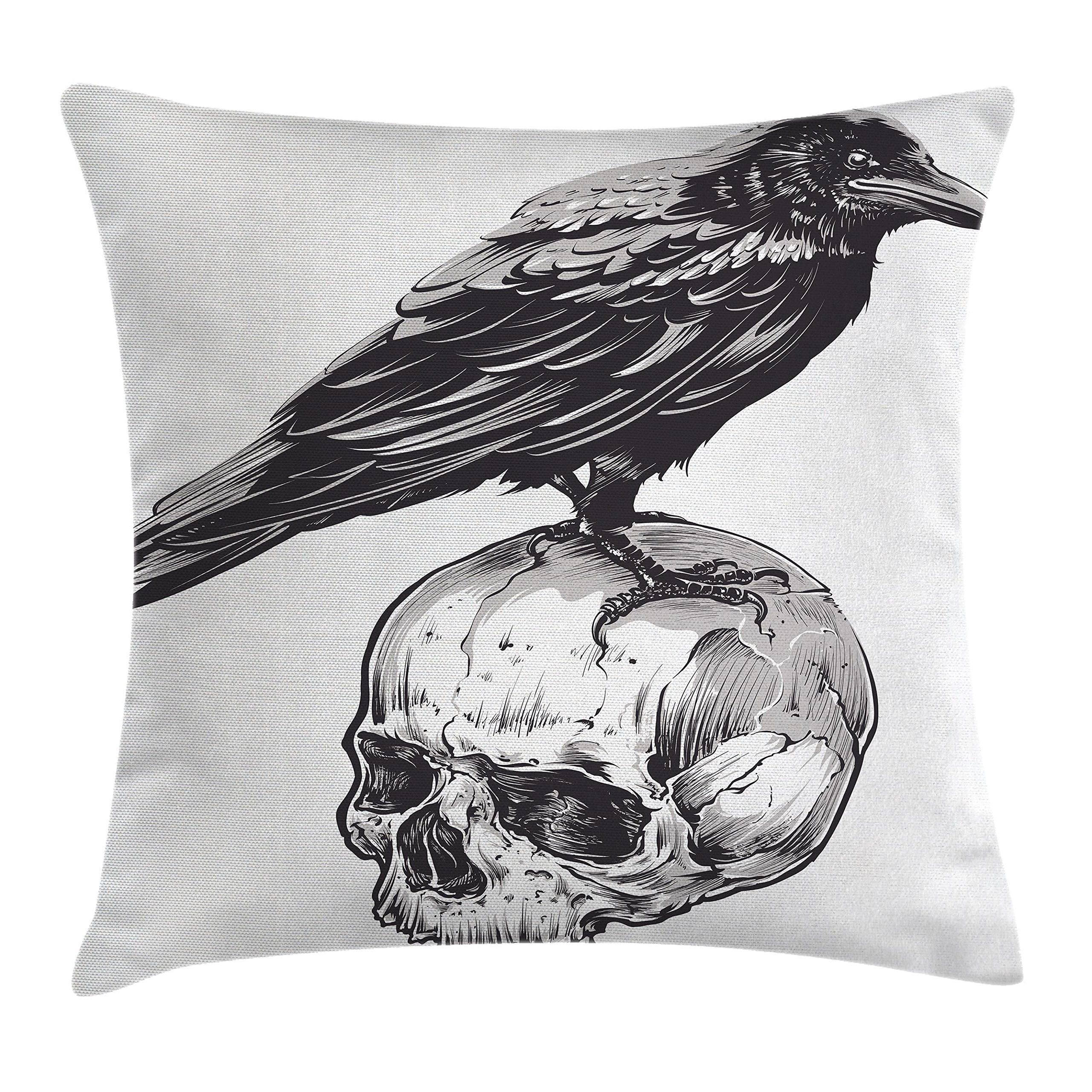 Ambesonne Scary Throw Pillow Cushion Cover, Scary Movies Theme Crow Bird Sitting on a Human Old Skull Sketchy Image, Decorative Square Accent Pillow Case, 18 X 18 inches, Charcoal Grey White