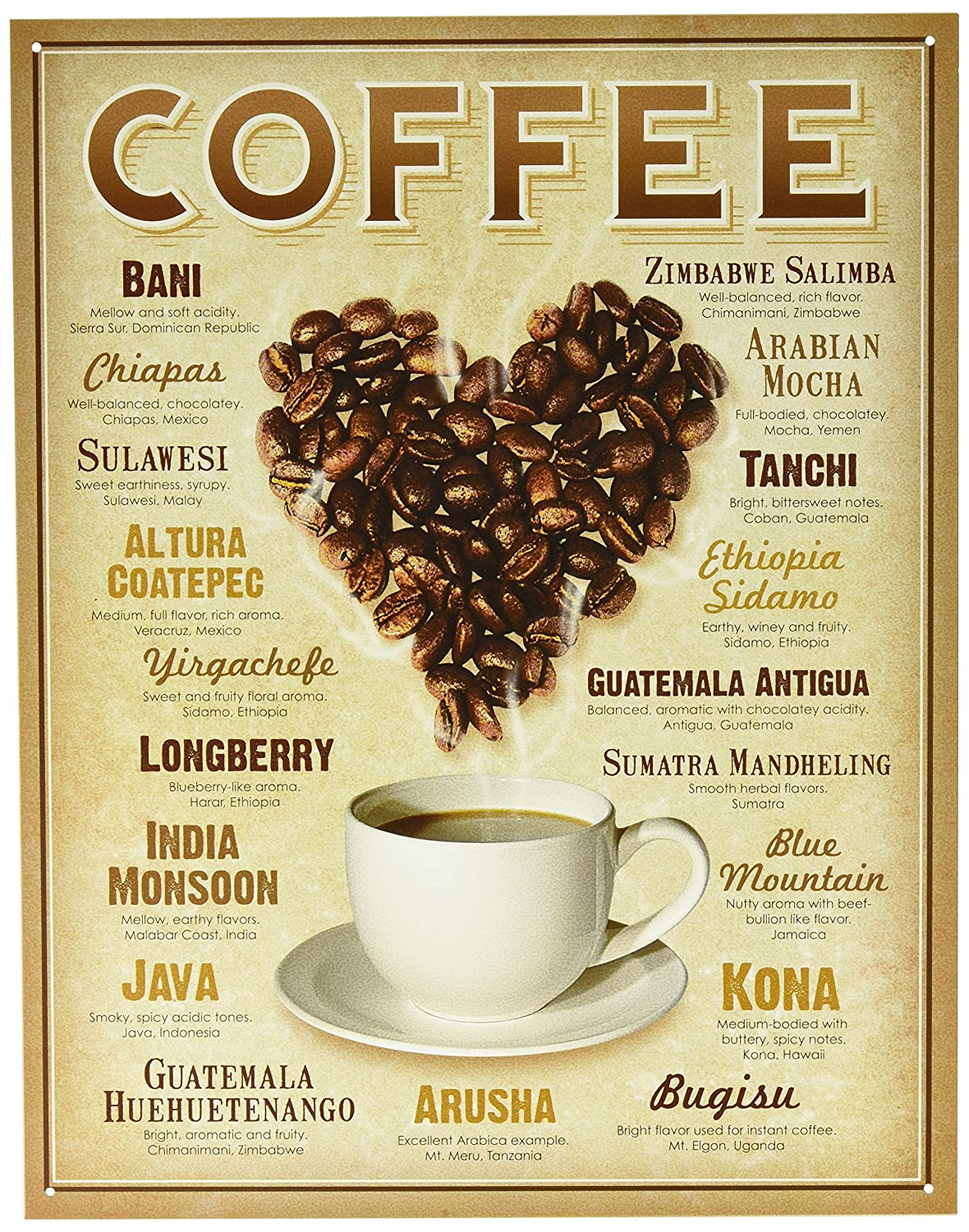 Amazon.com: Heart Coffee Blends Tin Sign 13 x 16in: Home & Kitchen