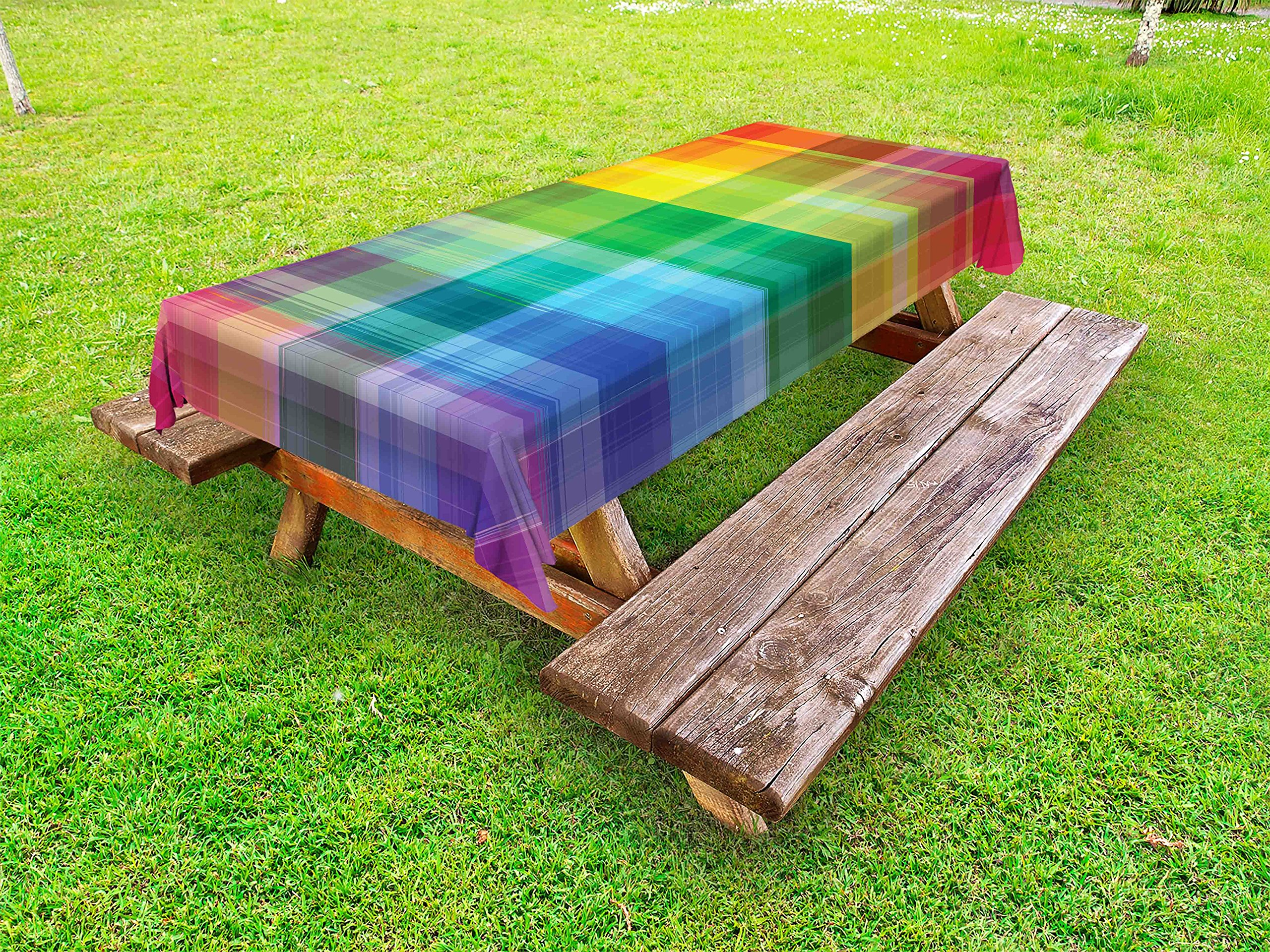 Ambesonne Vintage Rainbow Outdoor Tablecloth, Retro Plaid Design Checkered Squares Rainbow Colored Geometric Pattern, Decorative Washable Picnic Table Cloth, 58 X 84 Inches, Multicolor