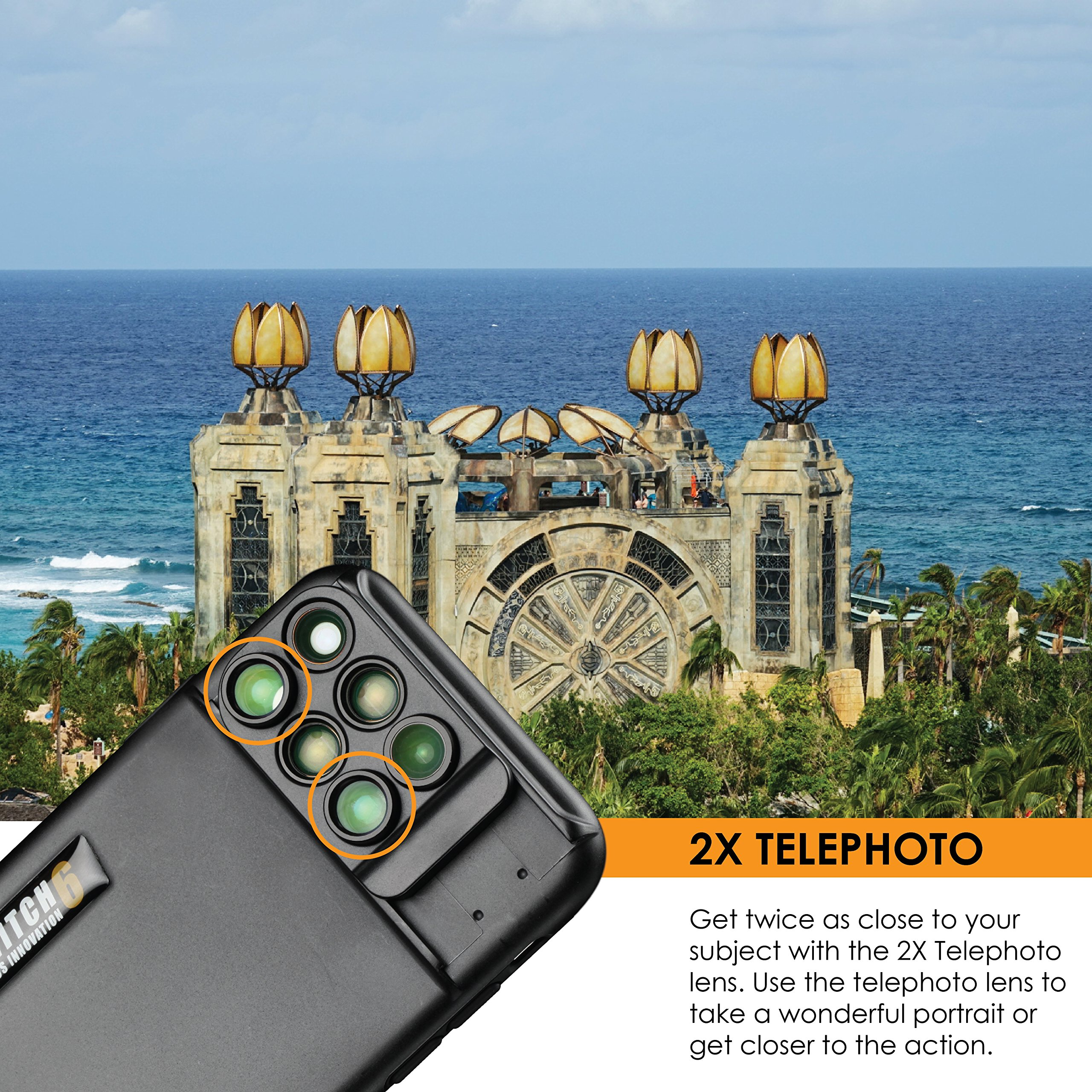 Ztylus Switch 6 for Apple iPhone X: 6 in 1 Dual Optics Lens System (Fisheye, Telephoto, Wide-angle, Macro and Super Macro), Double Layer Protection (Black) by Ztylus (Image #7)