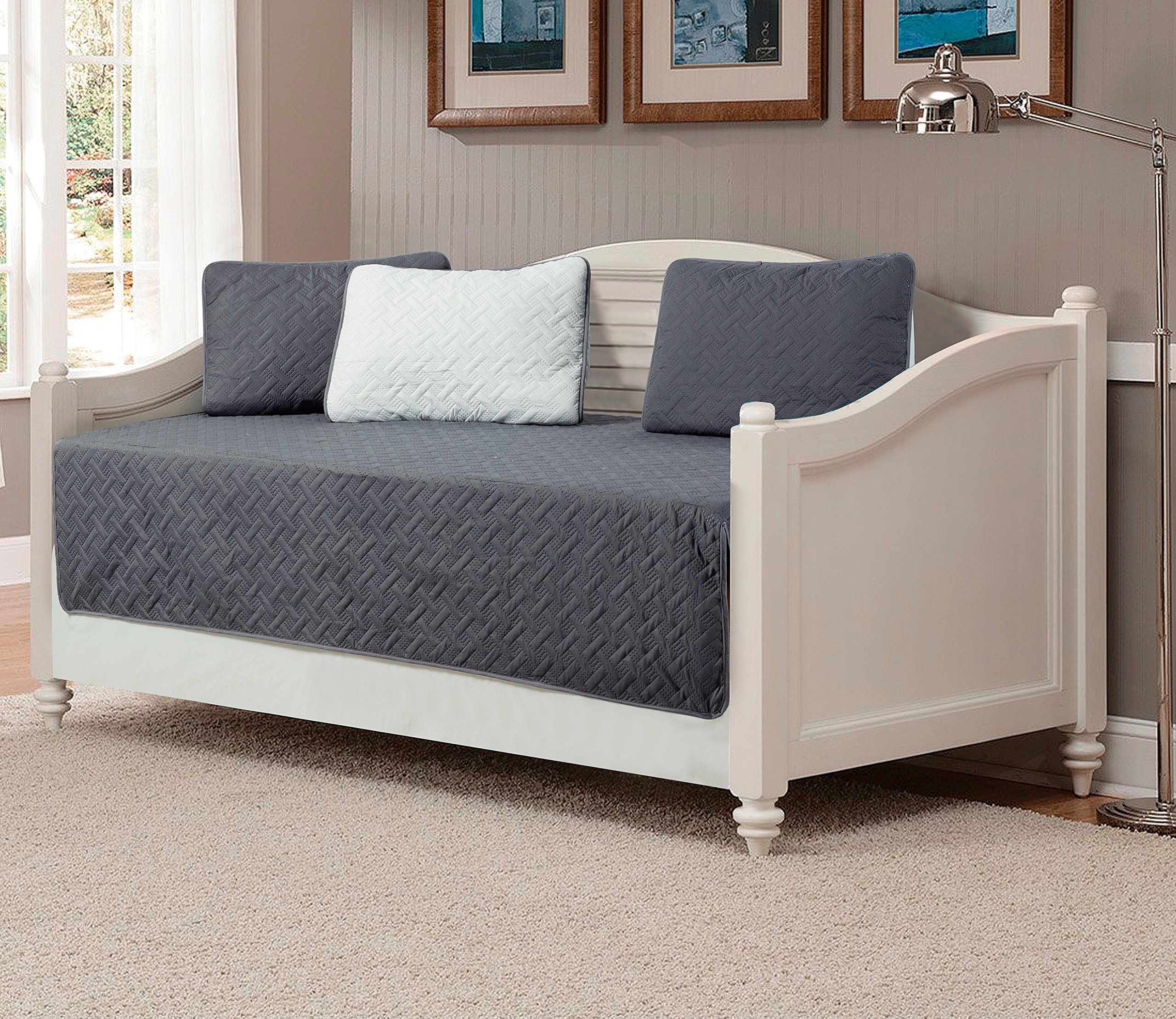 Mk Collection 5pc Modern Bedspread Day Bed Solid Embossed Reversible Charcoal/Silver New