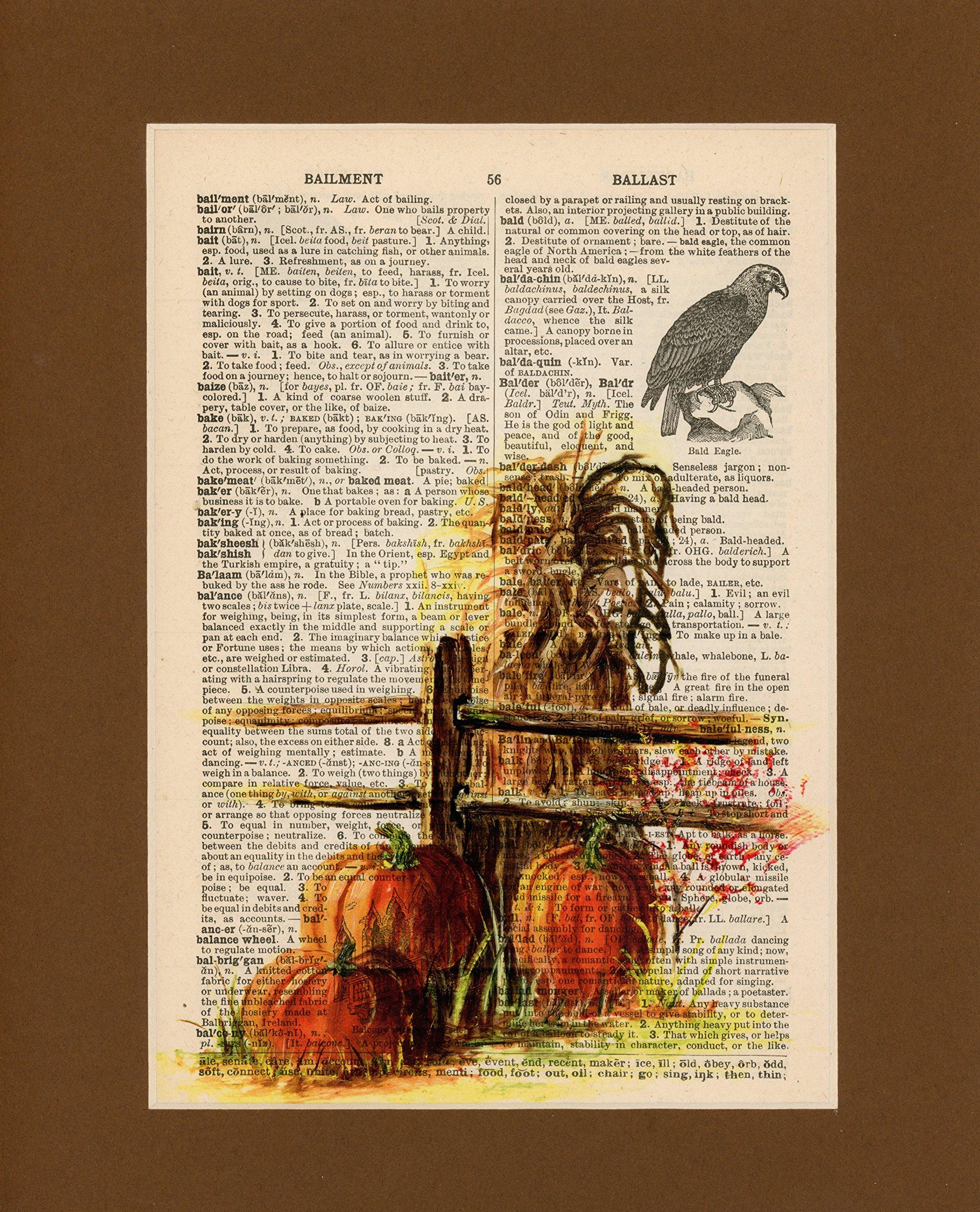 Vintage Dictionary Art Print-Orange Pumpkins with Hay
