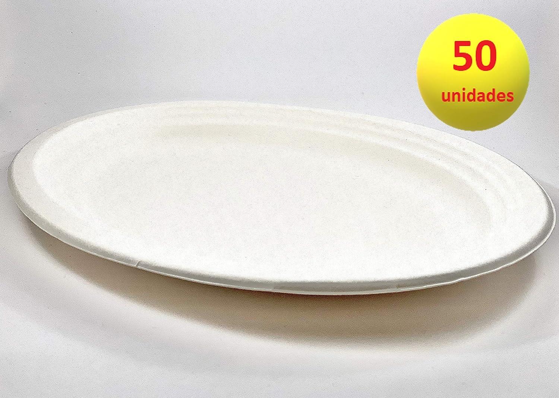 Plato De Fibra Natural Nupik Biodegradable Blanco Ovalado 26 Cm ...