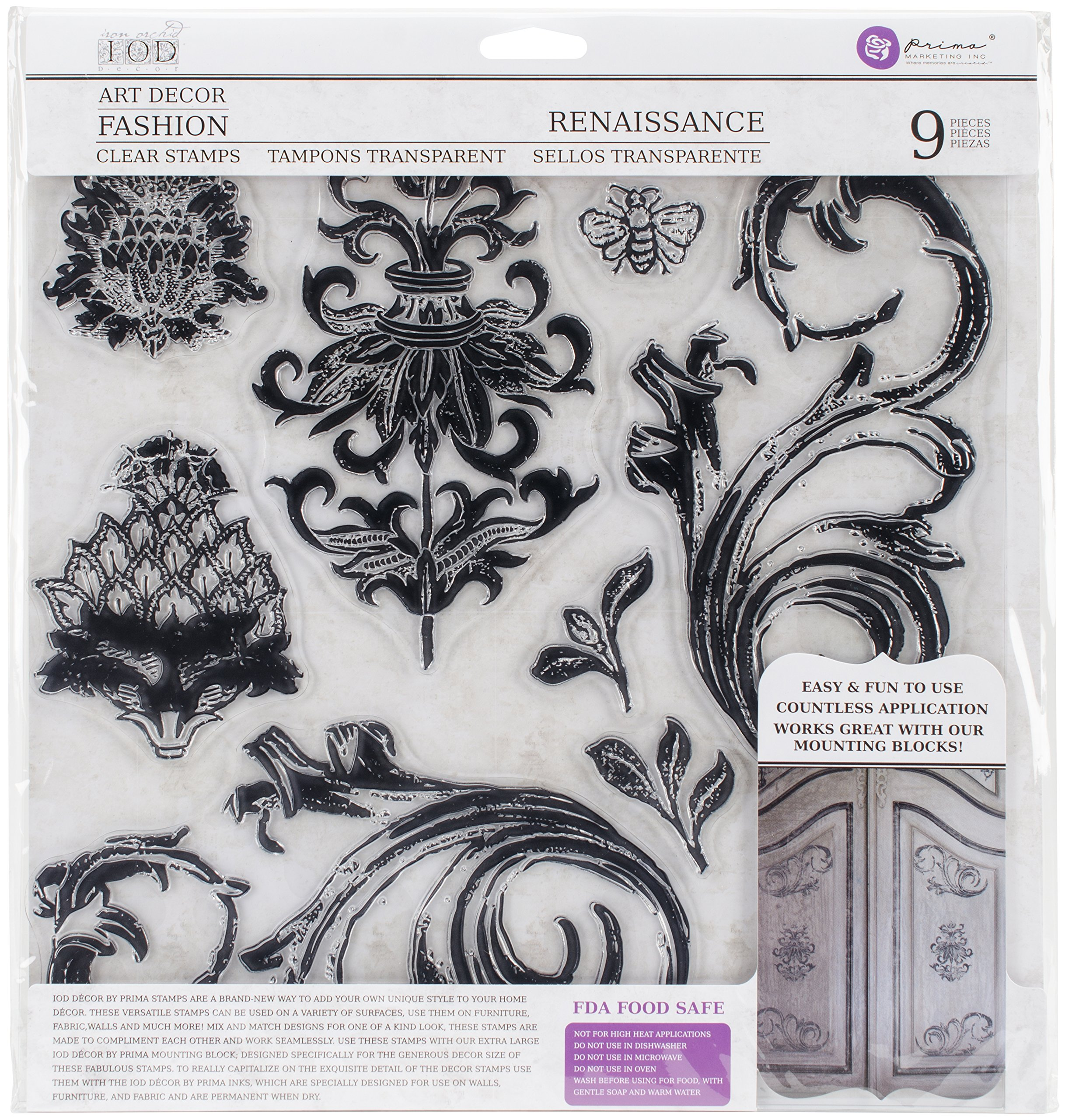 Prima Marketing Iron Orchid Designs Decor Clear Stamps -Renaissance 12'' x 12''