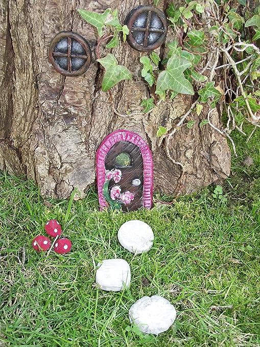 Hecho a mano puerta de hadas jardín de hadas con piedra Cottage estilo redondo, Windows, calzarse piedras y setas: Amazon.es: Jardín