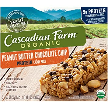 CRITIQUE Cascadian Farm Organicis 3 granola bars that are crunchy that are new
