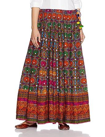 9f02af15c5 BIBA Women's Skirt (MNMNAVRATRI12818_MULTI_XL): Amazon.in: Clothing ...
