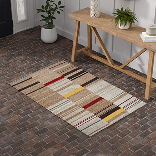 Stone Beam Modern Gabbeh Inspired Wool Area Rug, 4 x 6 Foot, Sand Multi